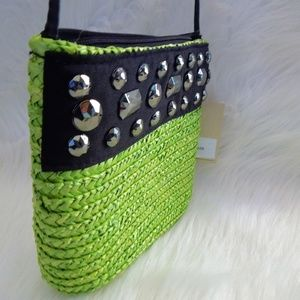 Magid Bags - NEW MAGID Straw Jeweled Crossbody Bag Green Black